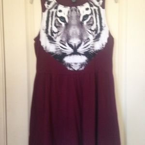Maroon Sleeveless Tiger Dress